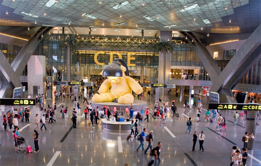 lamp bear by swiss artist urs fischer hamad international airport