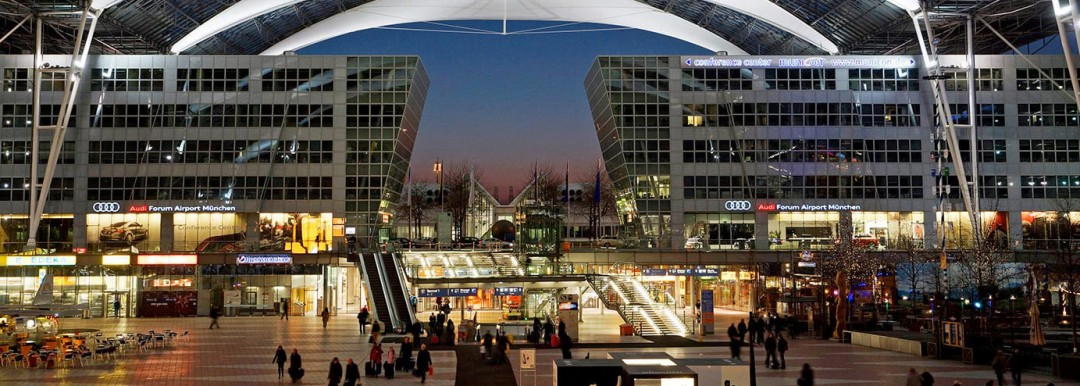 munich airport center at night